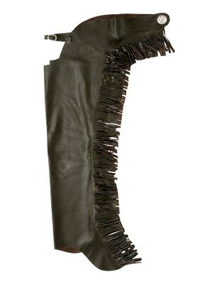 Tough-1 Western Chaps Smooth Leather Equitation Fringe Light 63-410