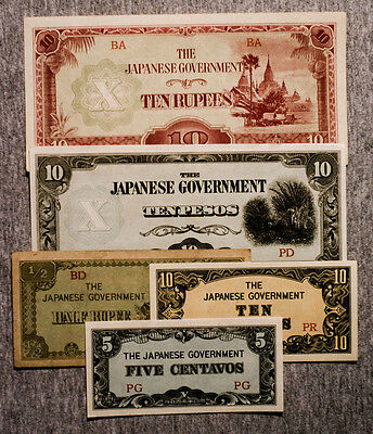 5 different old WW2 Japanese invasion paper money of Burma and Philippines nice