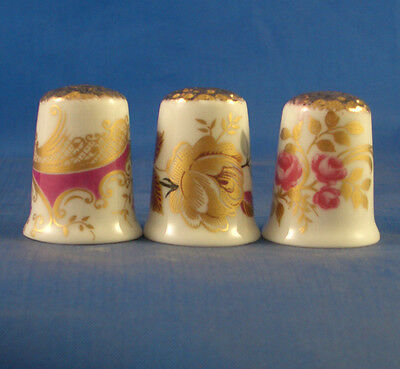 Fine Porcelain China Thimbles - Set Of Three  Gold Tops -- Gold Rose Assorted