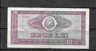 ROMANIA #94a 1966 VG CIRCULATED  OLD 10 LEI BANKNOTE BILL NOTE PAPER MONEY