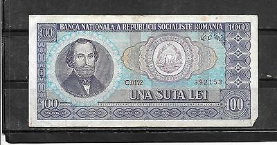 ROMANIA #97a 1966 VG CIRCULATED OLD VINTAGE 100 LEI BANKNOTE BILL NOTE PAPER