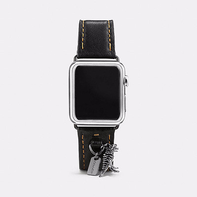 Coach Apple Watch Black Leather 38 mm Watch Strap Band with Charms ~  W6133