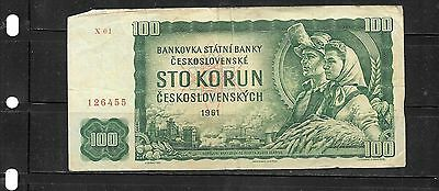 CZECHOSLOVAKIA #91c 1961 VG CIRC 100 KORUN BANKNOTE PAPER MONEY CURRENCY NOTE