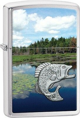 Zippo Fish In Lake Emblem Brushed Chrome WindProof Lighter NEW 29408