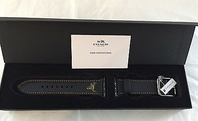 COACH Apple Watch Rexy Black Leather 42mm Band Strap ~ W6193