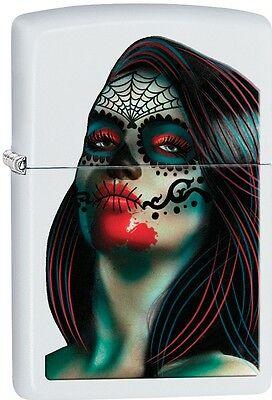 Zippo Day of the Dead Lady Tattoo White Matte WindProof Lighter NEW 29400