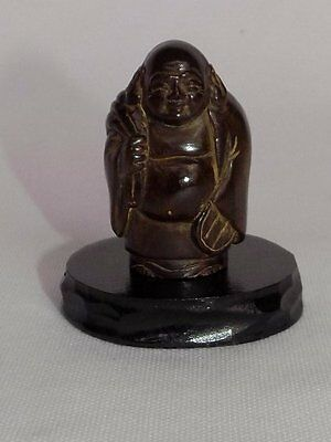 CHINESE HAND CARVED BOXWOOD STANDING BUDDHA SIGNED on WOOD BASE