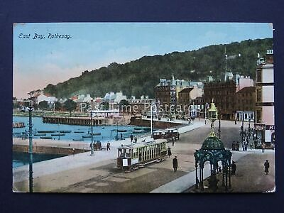 Scotland Isle of Bute ROTHESAY East Bay Showing Trams c1913 Old Postcard