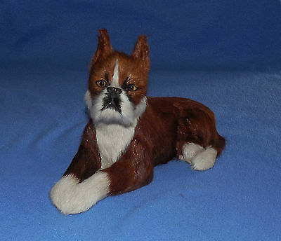 "Vintage 9""  Fur Covered Fawn Boxer Dog , Beautiful , Great Doll Campanion"