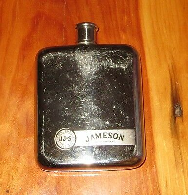 Jameson Irish Whiskey JJ &S Flask silver color good condition