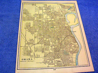 Antique Map Of The City Of Omaha Nebraska W/ Chicago Packing & Prov. Company