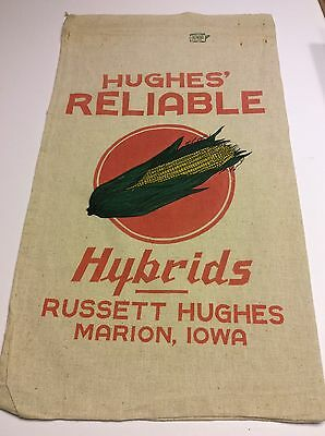 Old Cloth Corn Seed Sack Russet Hughes Reliable Hybrids Marion Iowa EXCEPTIONAL