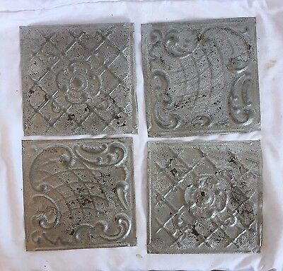 "1890's Reclaimed Tin Ceiling Tiles 4- 6"" x 6"" Anniversary Silver 247-17"