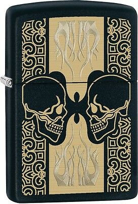 Zippo Skulls Pattern Black Matte WindProof Lighter NEW 29404