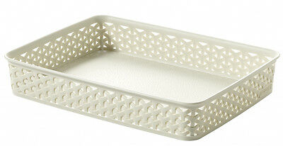 New Curver My Style Shallow Oblong Storage Tray Plastic Cream 216717 A4
