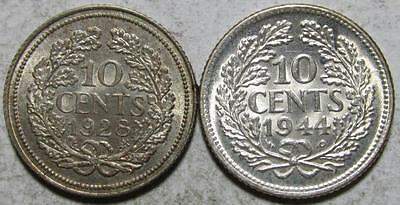 Netherlands, 10 Cents, 1928, AU & 1944P, Uncirculated, .0576 Ounce Silver