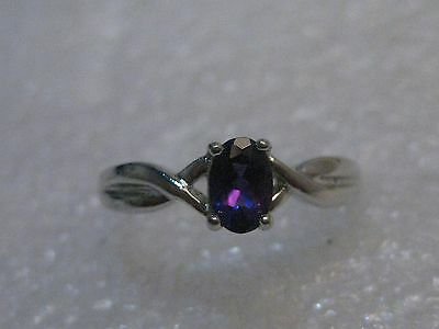 Silver Tone Amethyst Ring, Size 6, Oval stone, signed R