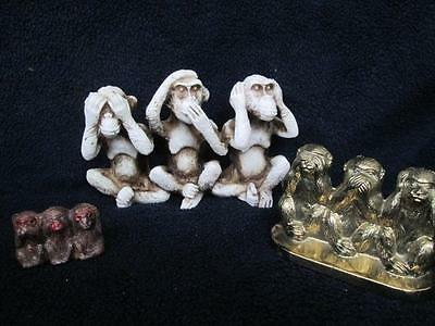 Monkeys See Speak And Hear No Evil 3 Different Ones 3 Different Size Used