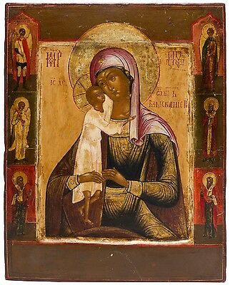 Old Antique Russian Icon of Seeking of the Lost, Mother of God, ca 1800