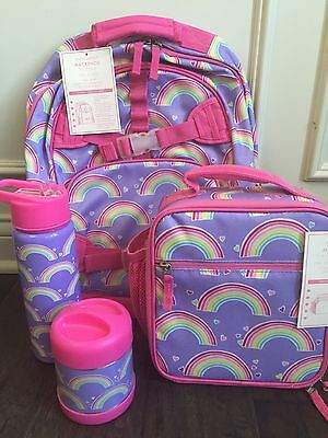 Girls Pottery Barn Kids Large Backpack RAINBOW  + LUNCH BAG, Bottle, Thermos