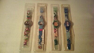 Lot of 4 1990s Plastic Disney Watches, New in Sealed Sleeve