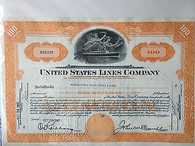 Vintage United States Lines Company Shares Certificate 1947 'Canceled'