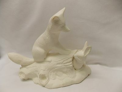 Fox on Log with Rabbit Bisque Ceramic Figurine Ready to Paint 10 x 8 Inch Nice