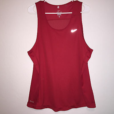 Mens Red Nike Miller Dri Fit Polyester Sleeveless Athletic Tank Top Shirt Xl