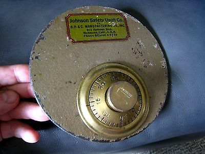"OLD SAFE  Lid / Cover  BRASS Combination Lock - ""N"" - JOHNSON SAFETY VAULT CO."