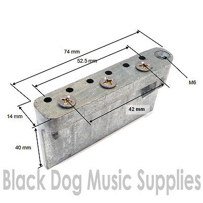 Guitar tremolo block in Zinc including screws 52.5 mm string spacing