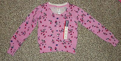 Cherokee Girls Pink Floral Cardigan Sweater Button Front Crew Neck Size 4-5 NWT