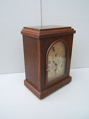 Vintage Mahogany large square Westminster chime mantel clock working  M12