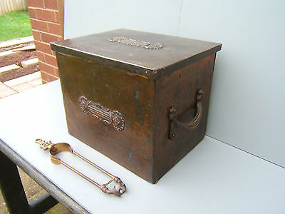 "Copper & wood coal scuttle box with liner & tongs embossed design 14.""x14 x12"