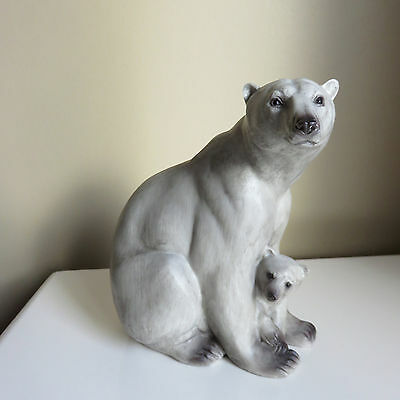 Polar Bear Figurine  Mom Sitting Protecting Cub Resin Northern Bears New