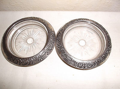 2 Antique Frank M Whiting Sterling Silver Floral Repousse Rim Glass Coasters