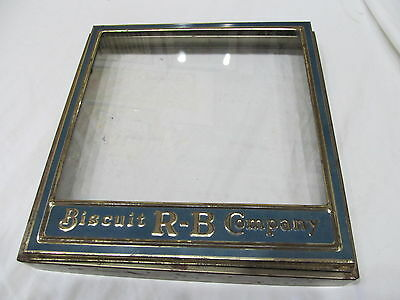Advertising Vintage R-B Biscuit Company Metal & Glass Top For Box Used In Stores
