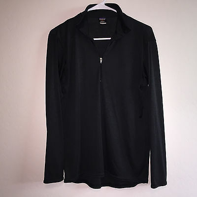 Mens Black Patagonia Capilene Polyester ½ Zip Base Layer Athletic L/s Shirt M