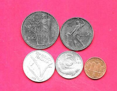 Italy Italian 5 Diff Different 1952-2002 Used Coin Lot Collection Set W Old