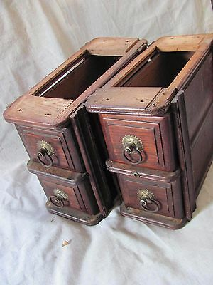 4 Vtg 1897 Treadle Sewing Machine Drawers with Ornate Pull Handles
