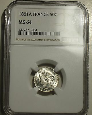 France 50 Centimes, 1881 A, Silver Gem of a Coin*** NGC Certified MS-64