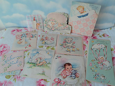 10 Vintage Baby Cards Mixed Media Art Supplies Shower Favors It's a Girl - Boy