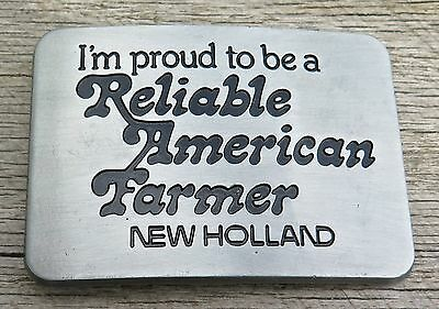 New Holland I'm Proud To Be A Reliable American Farmer Vintage Belt Buckle