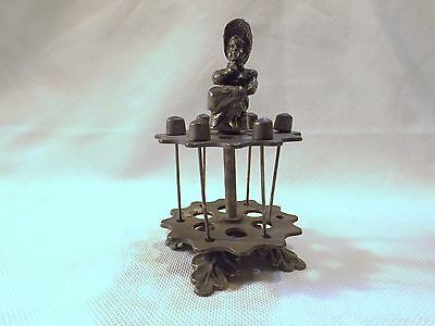 Antique Sewing 6 Spool Holders with Lady sitting Very Nice