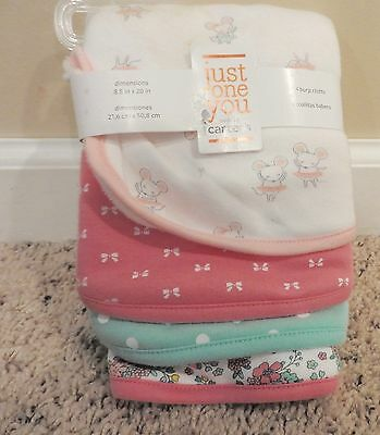 Carter's Just One You Baby Girl Set of 4 Burp Cloths ~Flowers ~ Bows~Tutu~ Dots