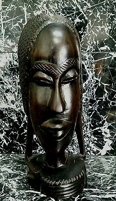 Vintage Hand Carved African Woman Bust Wood Statue Sculpture Tribal Folk Art