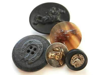 Lot of Antique Horse Theme Buttons Horseshoe Metal Pressed Horn Composition