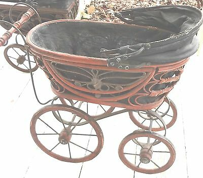 Must See Victorian Vintage Ornate Doll Wicker Carriage Stroller Buggy Carrier