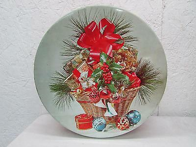 Vintage Christmas Candy Cookie Biscuit Tin 1960's Shiny Brite Decor