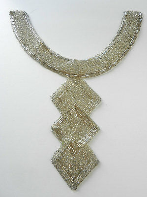 Vintage Art Deco Beaded Collar Silver Seed and Tube Beads Classic Design