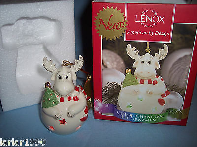 "Lenox, America By Design ""color Changing Lit Moose"" Ornament Adorable~Nib"